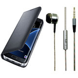 Micromax Vdeo 2 Q4101 Black Leather Flip Cover with Universal Perfumed Noise Cancellation Earphones with Mic