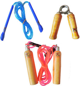 RIPR Fitness combo 1 wood skipping rope, 1 thin skipping rope and 1 hand gripper Gym  Fitness