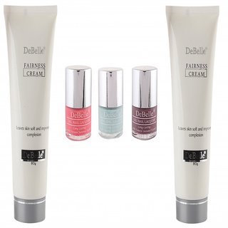 DeBelle Fairness Cream 80g Combo pack of 2  DeBelle Nail Polish Combo Kit of 3 (Baby Kiss, Mauve and Mint Blue)