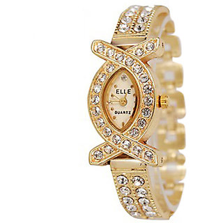 American Diamond Oval Dial Multicolor Metal Analog Watch For Women