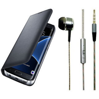 Samsung Galaxy J2 2016 J210 Black Leather Flip Cover with Universal Perfumed Noise Cancellation Earphones with Mic