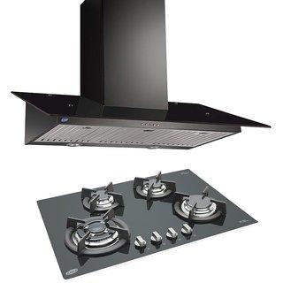 Cooker Hood6077 Black 1000BF 90cm LTW + BUILT IN HOB 1074 TR GLASS ( COMBOS )