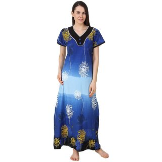 Buy Fasense Blue Cotton Nighty Night Gowns Online - Get 65% Off 7d95129a9bf2