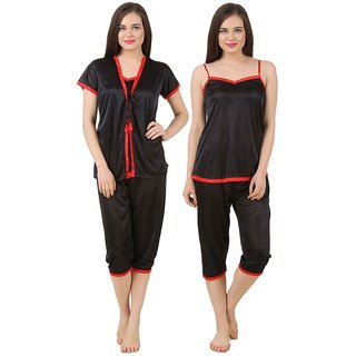 Fasense Black Satin Nighty  Night Gowns Pack Of 3