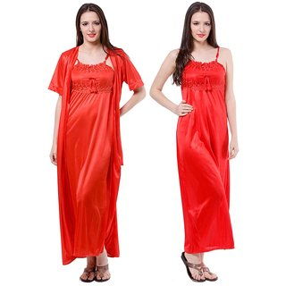 93b630c71c8 Buy Fasense Red Satin Nighty Night Gowns Pack Of 2 Online - Get 69% Off