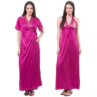 f6ecca928ca Buy Fasense Pink Satin Nighty Night Gowns Pack Of 2 Online - Get 70% Off