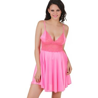 Fasense Pink Satin Baby Doll Dresses Pack Of 2