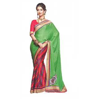 Amuktaa Green Pure Chiffon Leheria Saree