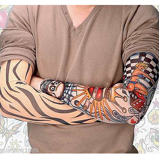 3 Pair Tattoo Skin Cover Sleeves Wearable Arm For Style / Biking Sun Protection
