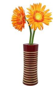 Organic handcrafted wooden flower vase - Maroon
