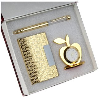 Far Vision 3 in 1 corporate Gift Set of Golden Apple Clock with Crystal Pen And Business Card Holder with premium packag