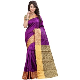 New Designer Saree Jacquard Cotton Fabric Purple And Beige Cotton Casual Wear Saree