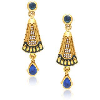 VK Jewels CRESCENT BLUE AND GREEN DROP  Earring set -ERZ1076G [VKERZ1076G]