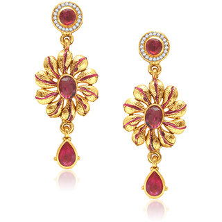 VK Jewels SUNFLOWER DESIGN PINK DROP Earring set -ERZ1082G [VKERZ1082G]