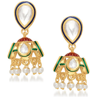 VK Jewels Beautiful Traditional Kundan Jhumki set -ERZ1159G [VKERZ1159G]