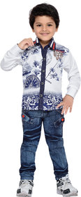AJ Dezines Kids Shirt and Jeans Set for Boys(668-WHITE-22)