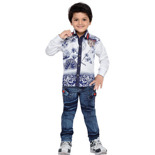 5ec1bb46286 Buy AJ Dezines Kids Shirt and Jeans Set for Boys(668-WHITE-22) Online - Get  57% Off