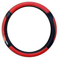 T-ONE Maruti Suzuki Wagon R Car Steering Cover - Red and Black-TB504