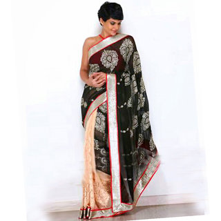 Palash fashion's Black Color embroidered Chiffon & Georgette Fancy Designer Saree