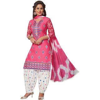Pari Pink Cotton Embrodiery Unstitch Dress Material For Women (Unstitched)