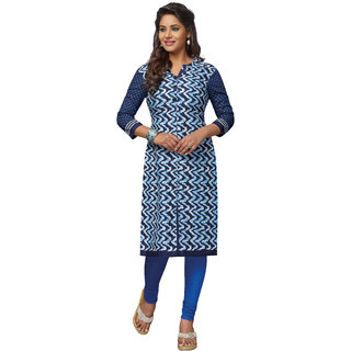 Pari Blue Printed Cotton Women's Unstitched Kurti For Women