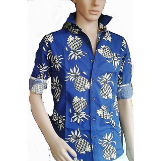 Flower Print Men's Cotton Shirt Blue