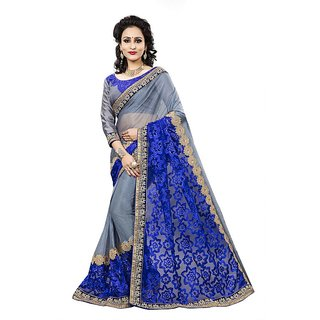Aashvi Creation Blue  Grey Lycra Embroidered Saree With Blouse