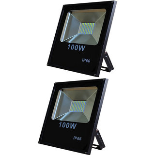 Galaxy 100 watt Led Slim Flood outdoor Light IP66 High Brightness white SMD Led pack of 2