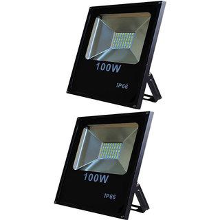 Galaxy 100 watt Led Slim Flood outdoor Light IP66 High Brightness white SMD Led pack of 2