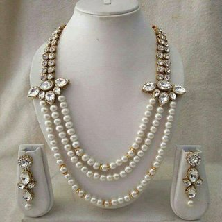 Fashion Fascinating Four String Moti Queen Necklace Set For Women