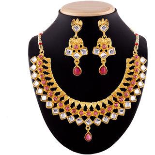Purple Crystal Chokar Necklace Set by Shital Jewellery