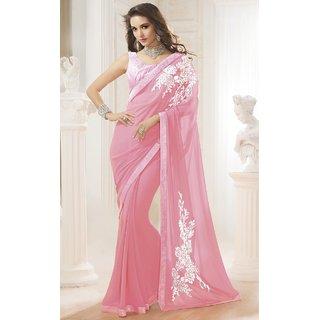 Sudarshansilk Pink Georgette Plain Saree With Blouse