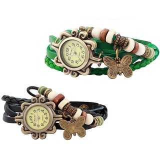 Glory Quartz vintage butterfly leather bracelet Black and Green Combo Analog Watch - For Women