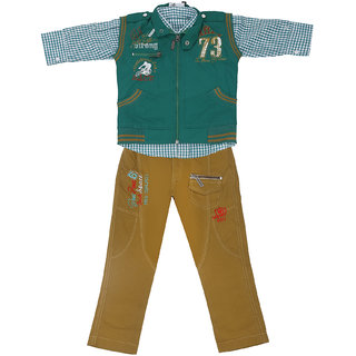 Sydney Green & Khaki Cotton Shirt Paint Set & Jacket for Boys