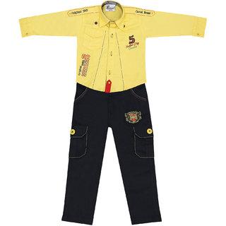 Sydney Yellow & Navy Cotton Shirt Paint Set for Boys