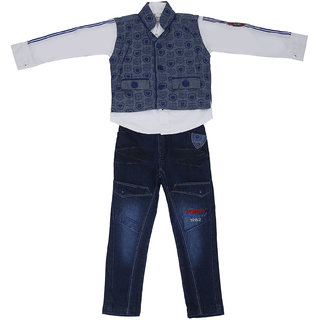 Sydney White and Grey & Blue Cotton Shirt Jeans Set & Jacket for Boys