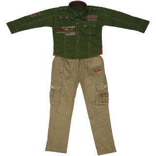 Sydney Green & Khaki Cotton Shirt Paint Set for Boys