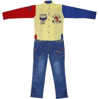 Sydney yellow & Light Blue Satin Shirt Jeans Set for Boys