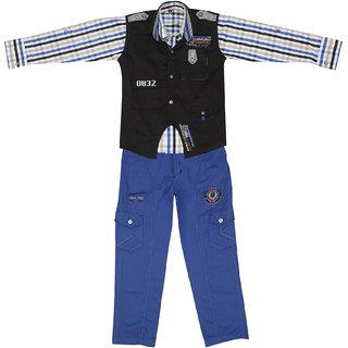 Sydney Black & Light Blue Cotton Shirt Paint Set & Jacket for Boys