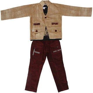 Sydney Khaki & Brown Velvet T shirt with Jacket & Jeans for Boys