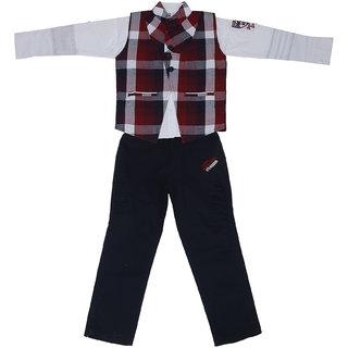Sydney Maroon, white & Navy Cotton Shirt Paint Set & Jacket for Boys