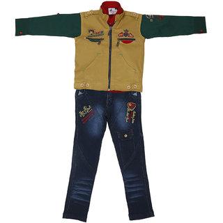 Sydney khaki & Blue Satin Shirt Jeans Set & Jacket for Boys