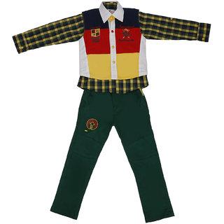 Sydney Multi color & Dark Green Cotton Shirt Paint Set & Jacket for Boys