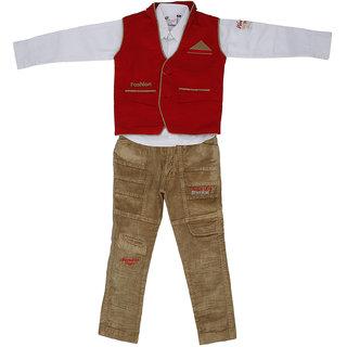 Sydney Red white & Khaki Corduroy Shirt Paint Set & Jacket for Boys