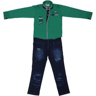Sydney Green & Blue Satin Shirt Jeans Set for Boys