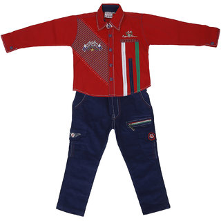 Sydney Red & Black Cotton Shirt Jeans Set for Boys
