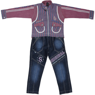 Sydney Pink & Blue Cotton Shirt Jeans jacket for Boys