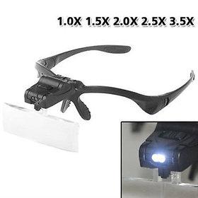5 Lens Head Band Magnifier Glass Visor 2-LED Light Magnifying Loupe DDTE