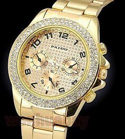 RIG Stone Studded golden watch for Women