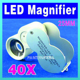40X LED JEWELERS LOUPE MAGNIFIER MAGNIFING GLASS LIGHT -PIA INTERNATIONAL